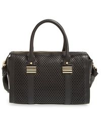 Big Buddha - Perforated Faux Leather Satchel - Lyst