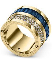 Michael Kors Gold-tone and Montana Baguette Barrel Ring - Lyst