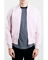 Topman Cotton Bomber Jacket pink - Lyst