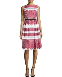 Carolina Herrera Lace-embroidered Day Dress - Lyst