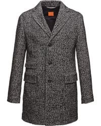 BOSS Orange - Short Coat 'barrets' In Salt-and-pepper Look - Lyst