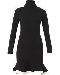 McQ by Alexander McQueen Contrast Trim Peplum Ribbed Dress - Lyst