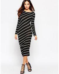 Wal-G Midi Dress In Stripe - Black