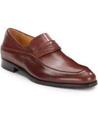 Saks Fifth Avenue Black Label - Leather Penny Loafers - Lyst