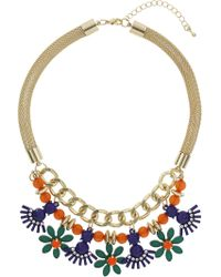 Topshop Womens Bright Stone Mesh Chain Necklace - Multi - Lyst