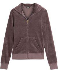 Juicy Couture Laurel Embellished Logo Velour Hoodie - Lyst