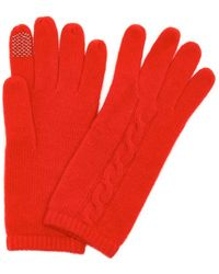 Portolano | Tomato Red Cable Knit Cashmere Itouch Gloves | Lyst