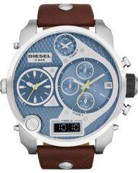Diesel Mens Analog-digital Mr Daddy Dark Brown Leather Strap Watch 57mm - Lyst