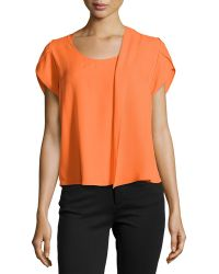 Halston Heritage Short-sleeve Silk Top with Scarf Detail - Lyst