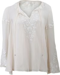 Haute Hippie Embroidered Peasant Blouse white - Lyst