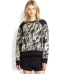Rag & Bone Leather-Paneled Printed Sweatshirt - Lyst
