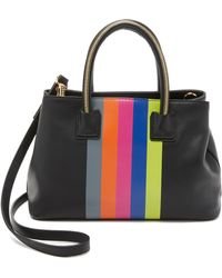 MILLY Logan Stripe Small Tote - Black