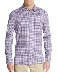 John Varvatos Gingham Check Cotton Sportshirt purple - Lyst