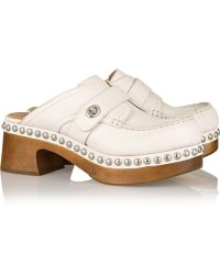 Coach Studded Textured-Leather Clogs - Lyst