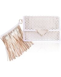 Sara Battaglia White Gold Perforated Medium Clutch - Lyst