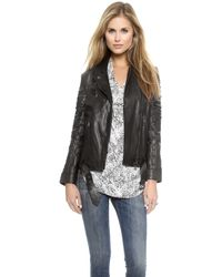 Haute Hippie Moto Jacket with Slashed Sleeves - Black - Lyst