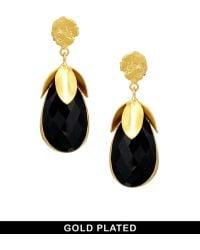 Kasturjewels - 22kt Gold Plated Black Onyx Earrings - Lyst