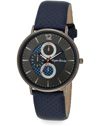 English Laundry - Stainless Steel Interchangeable Perforated Leather & Striped Strap Watch - Lyst