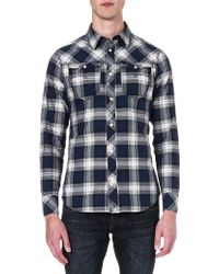 G-star Raw Olsen Checked Shirt Deep Sea Blue - Lyst