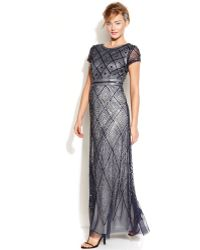 Adrianna Papell Cap-sleeve Beaded Illusion Gown - Lyst