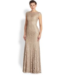 ML Monique Lhuillier Cap-Sleeve Lace Gown - Lyst