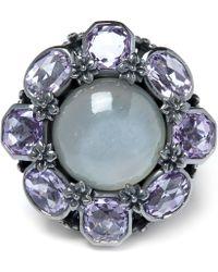 Stephen Dweck - Grey Moonstone And Amethyst Flower Ring - Lyst