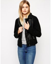 Asos Textured Biker Jacket With Knit Panels - Lyst