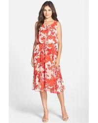 Eliza J Belted Floral Print Chiffon Fit & Flare Dress - Lyst