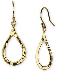 Argento Vivo Hammered Open Teardrop Earrings gold - Lyst