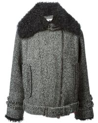 Carven Shearling Collar Jacket - Lyst