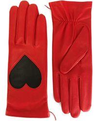 Christopher Kane Love Heart Applique Gloves - Red