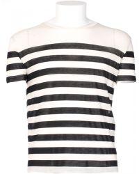 Saint Laurent Silk Stripes T-Shirt black - Lyst