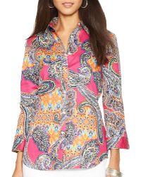 Ralph Lauren Lauren Petites Paisley Print Sateen Shirt - Lyst