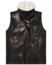 Helmut Lang Petal Leather Fur Vest - Lyst