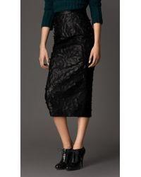 Burberry Textured Leather Leaf Appliqu Pencil Skirt - Lyst