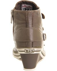 Ash Gin Bis Buckled Leather Wedge Sneaker - Black