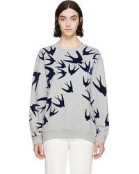 McQ by Alexander McQueen Grey Flocked Swallow Sweatshirt - Lyst