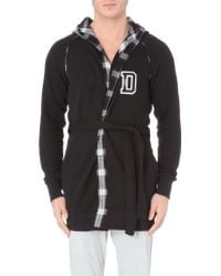 Diesel Checked Lining Jersey Dressing Gown - For Men black - Lyst