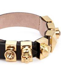 Alexander McQueen Skull And Crystal Metal Loop Leather Bracelet - Lyst