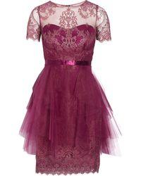Notte By Marchesa Lace-appliquéd Tulle Mini Dress - Lyst