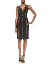 Versace Linear Golden-studded Dress - Lyst
