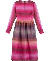 Valentino Striped Silk Organza Dress - Lyst