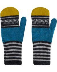 Quinton-chadwick - Turquoise Chevron Wool Mittens - Lyst