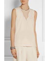 DKNY Stretch Silk-Paneled Crepe Top - Lyst
