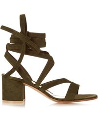 Gianvito Rossi   Janis Low Suede Sandals   Lyst