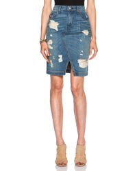 Rag & Bone Blue Denim Skirt - Lyst