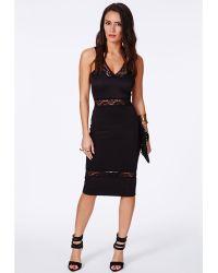 Missguided Elektra Black Lace Panel Midi Dress - Lyst