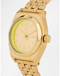 Nixon Small Time Teller Neon Yellow Watch - Lyst