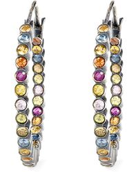 She Bee Gem - Youre So Fabulous Silver and Sapphire Hoop Earrings - Lyst