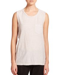 James Perse Slub-Knit Pocket Muscle Tee silver - Lyst